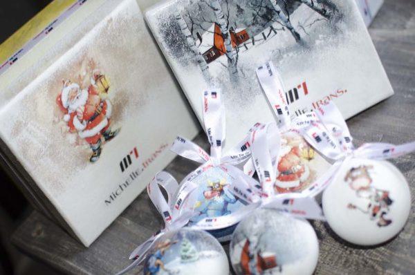 новогодние подарочные наборы с елочными шарами с лого