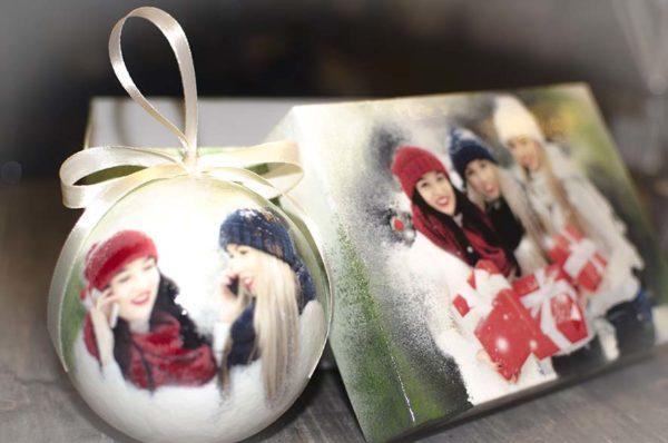 елочный шар 10 см с фото в подарочной коробке