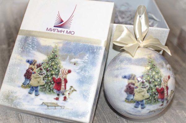 елочный шар 10 см в подарочной коробке с логотипом