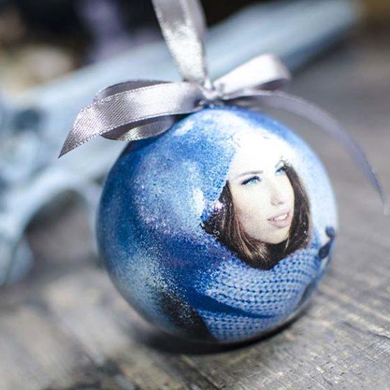 елочный шар с фото ручной работы