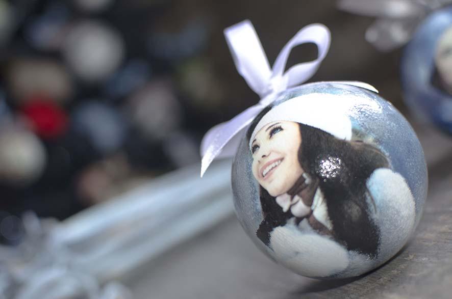 елочный шар 8 см с фотографией
