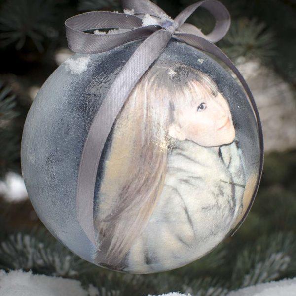 елочный шар 14 см с фотографией