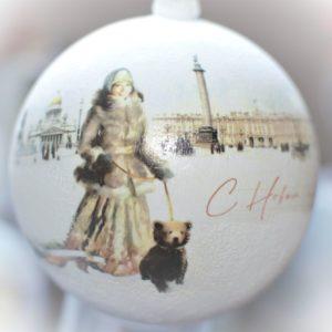 новогодний шар с видом Санкт-Петербурга